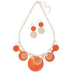 Paradise Shores Orange Shell Disc Necklace Set