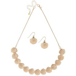 Paradise Shores Gold Tone Coastal Shell Necklace Set