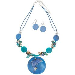 Paradise Shores Blue Multi Shell Dolphin Necklace Set