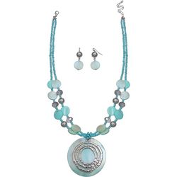 Paradise Shores Aqua Shell Double Row Necklace Set