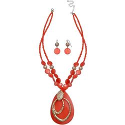 Paradise Shores Orange Shell Pendant Necklace Set