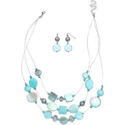 Paradise Shores 3 Row Aqua Shell Illusion Set