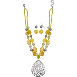 Paradise Shores Yellow Shell Teardrop Necklace Set