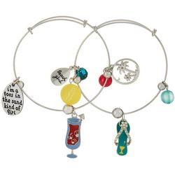Jules B Duo Beach Girl Flip Flop Charm Bangle Bracelet Set
