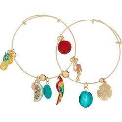 Jules B Parrot Tropical Charm Bangle Bracelet Set