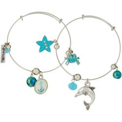 Jules B Crab Dolphin Florida Charm Bangle Bracelet Set