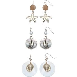 Coral Bay Starfish & Shell Trio Earring Boxed Set