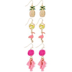 Coral Bay Trio Pineapple Flamingo Tassel Earrings