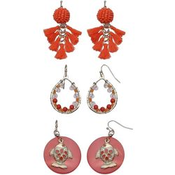 Coral Bay Orange Bead & Tassel Trio Earring Set