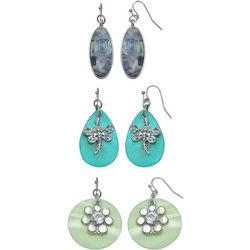 Coral Bay Dragonfly & Shell Trio Earring Set