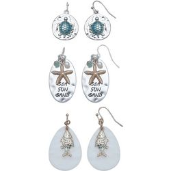 Coral Bay Sea Sun Sand Coastal Trio Earring Set