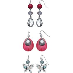 Coral Bay Pink Shell & Butterfly Trio Earring Set