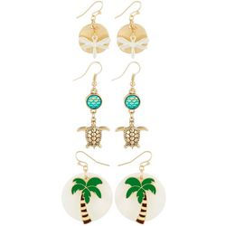 Coral Bay 3-pc. Tropical Palm Coastal Earring Set