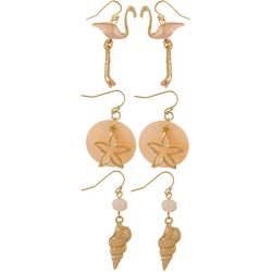 Coral Bay 3-pc. Flamingo Shell Earring Box Set