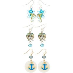 Coral Bay 3-pc. Anchor Seahorse Box Earring Set