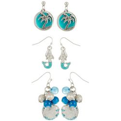 Coral Bay 3-pc. Mermaid Palm Tree Box Earring Set