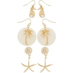 Coral Bay 3-pc. Coastal White Gold Tone Earring Set