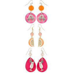 Coral Bay 3-pc. Tropical Orange & Pink Earring Set