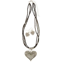 Paradise Shores Seed Bead Heart Necklace Set