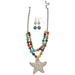 Paradise Shores Beaded Starfish Necklace & Earring Set