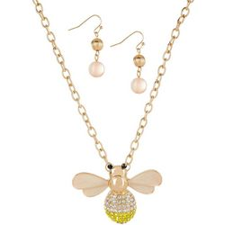 Paradise Shores Rhinestone Bumble Bee Pendant Necklace Set