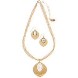 Paradise Shores 4 Row Hammered Pendant Necklace Set