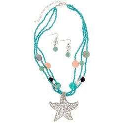 Paradise Shores 3 Row Starfish Pendant Necklace Set