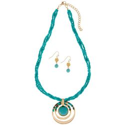 Paradise Shores Aqua Blue Beaded Necklace Set