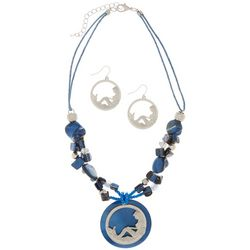 Paradise Shores Blue Mermaid Pendant Necklace Set