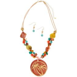 Paradise Shores Beaded Palm Tree Pendant Necklace Set