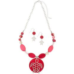 Paradise Shores Pink Sea Turtle Pendant Necklace Set