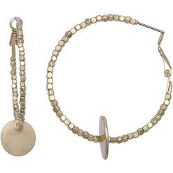 Milli Mini Gold Tone Seedbead Hoop Disc Earrings