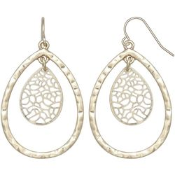 Milli Worn Gold Filigree & Teardrop Earrings