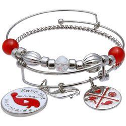 Chubby Mermaids Red Multi Manatee Bangle Bracelet Set