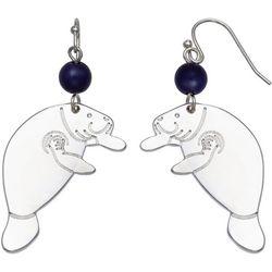 Chubby Mermaids Blue Bead Silver Tone Manatee Earrings