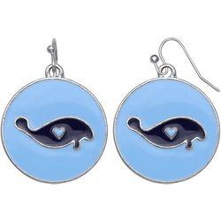 Chubby Mermaids Blue Manatee Disc Drop Earrings