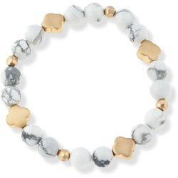 Blank Canvas White Howlite Beaded Stretch Bracelet