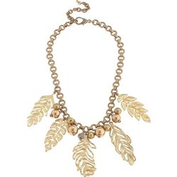 Blank Canvas Gold Tone Palm Leaf Statement Necklace