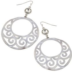 Blank Canvas Silver Tone Round Filigree Dangle Earrings