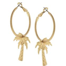 Blank Canvas Gold Tone Palm Tree Hoop Earrings