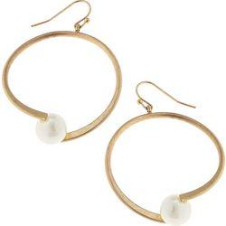 Blank Canvas Faux Pearl Gold Tone Hoop Earrings