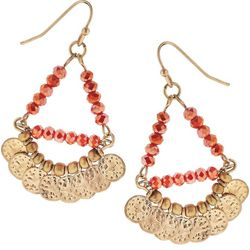 Blank Canvas Coral Orange Bead Trapeze Dangle Earrings