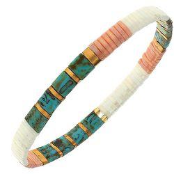 Canvas Peach Multi Tila Glass Beads Bracelet
