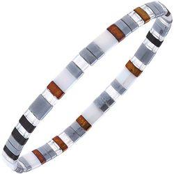 Canvas Silver Tone Multi Tila Glass Beads Stretch Bracelet