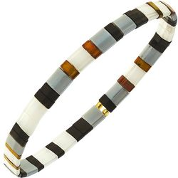 Canvas White Black Brown Tila Glass Beads Stretch Bracelet