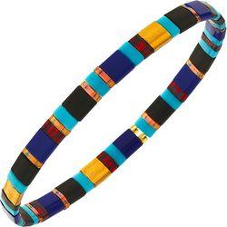 Canvas Black Blue Multi Tila Glass Beads Bracelet
