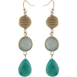 Jones New York Triple Bead Teal Teardrop Earrings