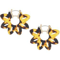 Nicole Miller New York Tortoise Flower Hoop Earrin