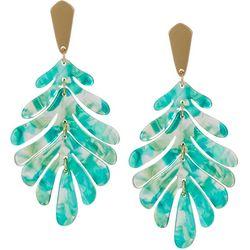 Nicole Miller New York Resin Leaf Drop Earrings