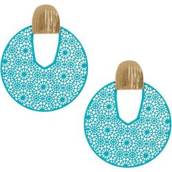 Nicole Miller New York Cut Out Disc Drop Earrings